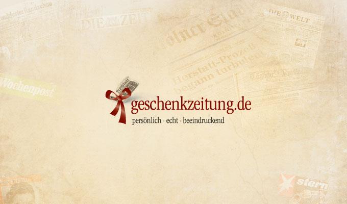 Design und Logo geschenkzeitung.de auf historischem Papier