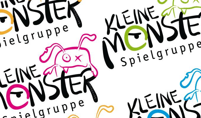 Logo Kleine Monster in verschiedenen Farben