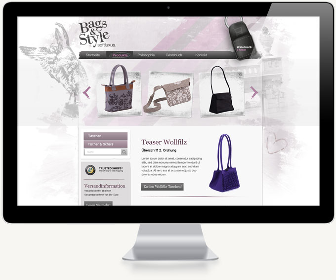 Screenshot Onlineshop Bags and Style