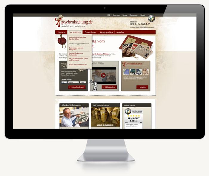 Erster Screenshot Onlineshop Startseite geschenkzeitung.de