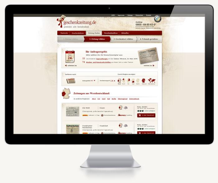 Zweiter Screenshot Onlineshop Unterseite geschenkzeitung.de