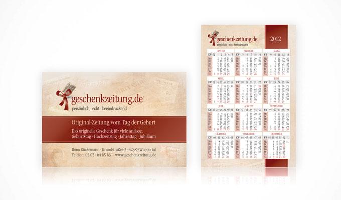 Visitenkarten mit Kalender