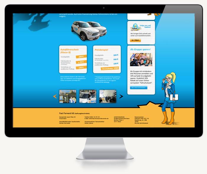 Webdesign der Startseite Footerbereich