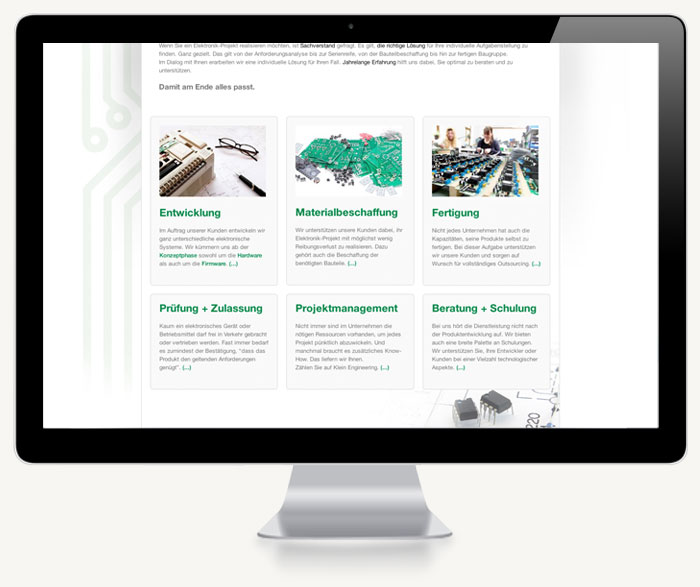 Screenshot Unterseite Klein-Engineering
