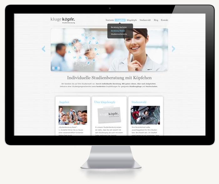Erster Screenshot der Startseite KlugeKöpfe