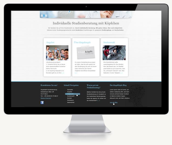 Zweiter Screenshot Website KlugeKöpfe